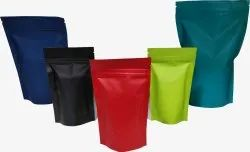 Spice Packaging bag -3 Ply Foil Laminated Multi Color Zipper Stand Up Pouches In Matte Finish