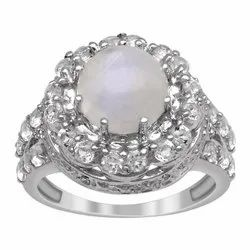 925 Sterling Silver Solitaire Accents 2.75 Ctw Moonstone Birthstone Women Ring