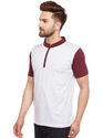 100% Cotton Men Short Sleeve Mandarin Collar T-Shirt