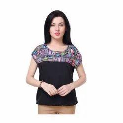 Ladies Half Sleeve Printed Multicolor Top