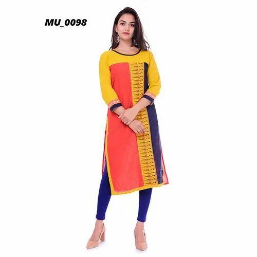 Formal Wear A-Line Printed Cotton Ladies Kurti, Size: S-XXL