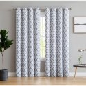 Printed Eyelet Bedroom Window Cotton Curtain