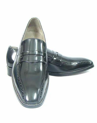 Black Asm Stylish Italian Calf Leather Slip On Shoes