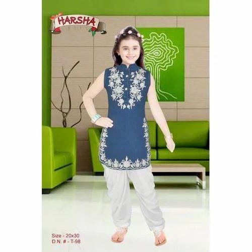 aa99320c7e Blue And White Cotton Kids Kurti With Patiala, Rs 595 /piece | ID ...