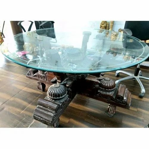 2 5 Feet Modern Wooden Glass Round, Dining Table Glass Round