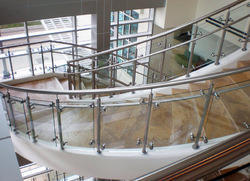 SS Staircase Button Glass Railing