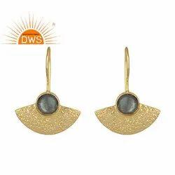 Flashy Labradorite Gemstone Designer Gold Plated 925 Silver Hook Earrings