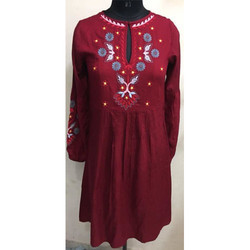 Ladies Red Printed Long Top