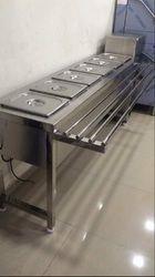 Metallic Silver Bain Marie Counter