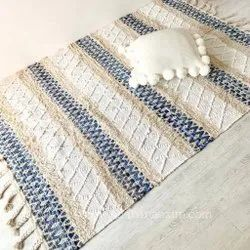 Handwoven Cotton Rugs Diamond Denim Area Rug Floor Carpet Mats
