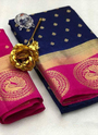 Raw Silk Zari Butti Work Sarees