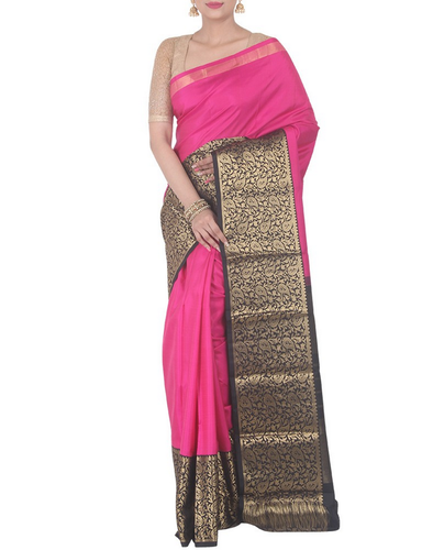 3bbd09ef3e005e Simaaya Pink Pure Silk Kanjivaram Silk Saree With Broad Border, Rs ...