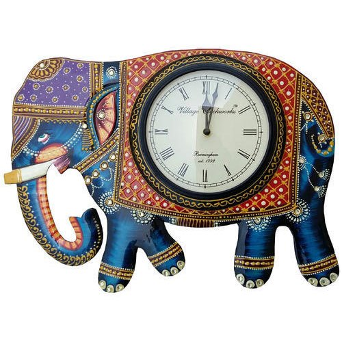 Ceramic Painted Elephant Wall Clock, Packaging Type: Box