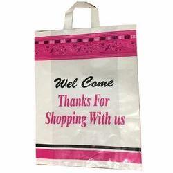 White, Pink LD Loop Handle Plastic Bag