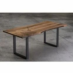 Rustic Green Acacia Wood Natural Edge Modern Dining Table, Size: 180x90x76 Cm Lxwxh