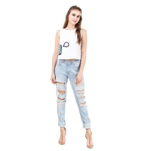 4263423c794 Ladies Cotton Sleeveless Plain Western Crop Top, Rs 298 /piece | ID ...