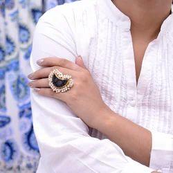 Black Druzy Gemstone Moon Design Adjustable Ring