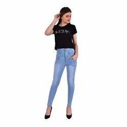 Ladies Blue Plain Jeans