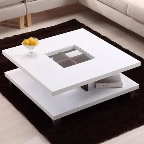 White Square Modern Center Table Rs 7000 Piece Saifi Interior Woodcraft India