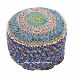 Awesome Indian Mandala Pouf Ottoman Decorative Round Floor Pillow Cover Machost Co Dining Chair Design Ideas Machostcouk