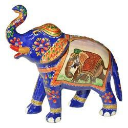 Metal Elephant With Elephant Painting Work