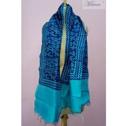 Rectangle Casual Wear Block Printed Silk Fancy Stole, Packaging Type: Packet