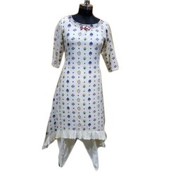 Atenica Stitched Ladies Printed Cotton Dhoti Suit, Handwash