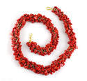 Red Stone Uncut Chip Necklace Set With Bracelet & Earrings