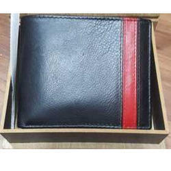 Brown Mens Black Leather Plain Wallet