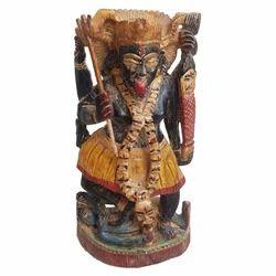 Wooden Black Finishing Kali Statue