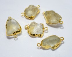 Gold Electroplated Handmade Crystal Rough Gemstone Connectors