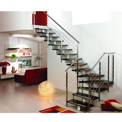 Interior Indoor Stainless Steel Staircase, For Residential, Material Grade: SS304