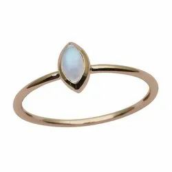 9 ct Yellow Gold Moonstone Marquise Bezel Set Solitaire Engagement Ring