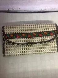 Embroidered Ladies Jute Clutch Purse, Rectangular