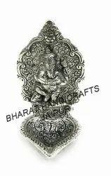 Silver Plated Ganesh Leaf Deepak