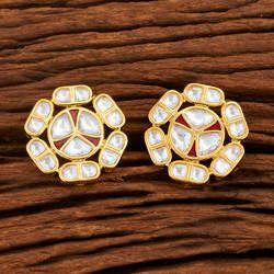 Kundan Gold Plated Handmade Stud Earrings 41224