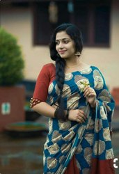 Bagru Printed Designer Cotton Mulmul Saree