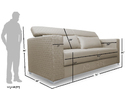 Adorn India Bentley 3 Seater Sofa ( Grey)