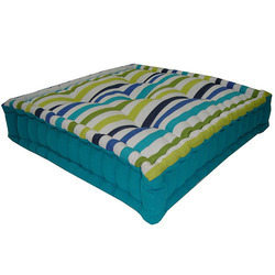 Green Striped Box Cushion