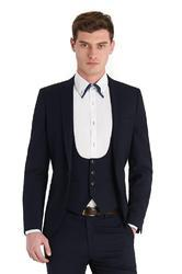 Black Men High Collar Western Suit