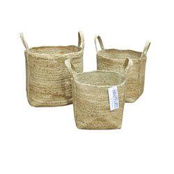 Woven Laundry Jute Basket Bin