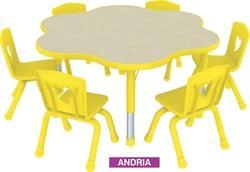 Play School Kids Table With Wooden Top Plastic Moulded Edge Andria