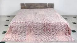 Quilt / Kantha Bed Cover In Hand Block Patch Theme