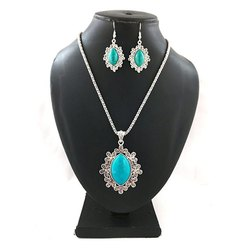 Oxidized Sky Blue Stone Necklace with Earrings Set