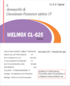 Welmox Cl-625 Amoxycillin And Clavulanate Potassium Tablets
