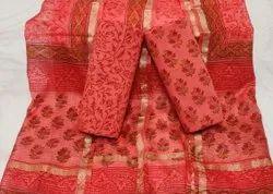 Bagru Hand Block Print Kota Doria Dupatta Dress Materials