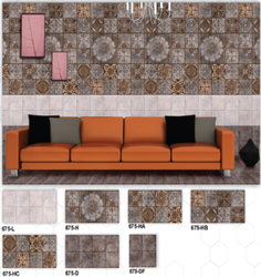 675 (L, H, HA, HB, HC, D, DF) Hexa Ceramic Digital Wall Tiles