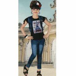 Casual Wear Plain Girl's Full Pant Set