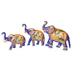 Metal Elephant With Radha Krishna Painting Work
