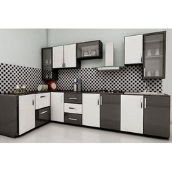 Residential Acrylic L Shaped Modular Kitchen, Warranty: 1-10 Years